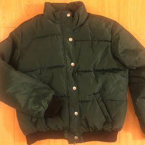 Forever 21 green bomber puffy jacket